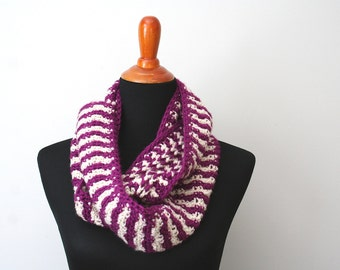 Crocheted Cowl, Purple and Tan Striped; Purple Crochet Cowl, Purple and Tan Cowl, Striped Crochet Cowl, Crochet Winter Scarf