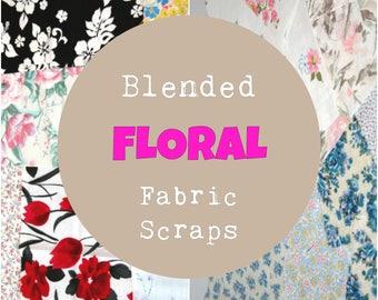 Floral Fabric Scraps, Floral Fabric Scrap Bundle, Blended Fabric, 4 ounces, ~1 yard
