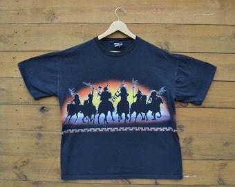 Vintage 1991 Signal Sports Indian Habitat Warfare T-Shirt Back & Front Size XL
