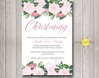 Personalised Printable Baptism/Naming Day/ Christening Invitation Printable Pink Floral