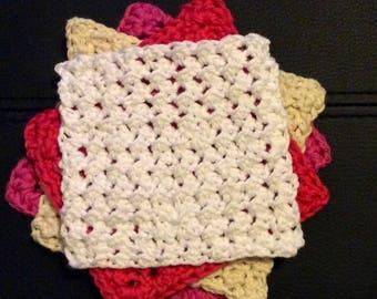 Crochet Wash cloths, face cloths, flannels, crochet face cloths, bathroom accessories, shower accessories, cloths, crochet cloths, pack,