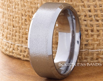 Tungsten Wedding Bands Brushed Polished Beveled Comfort Fit Unisex Tungsten Ring His Hers Custom Anniversary Engagement Promise 8mm Ring