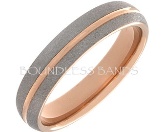 Tungsten Ring Tungsten Wedding Ring Men Women Tungsten Ring Anniversary Promise Engagement 5mm Dome Two Tone Rose Gold Matching Set Band New