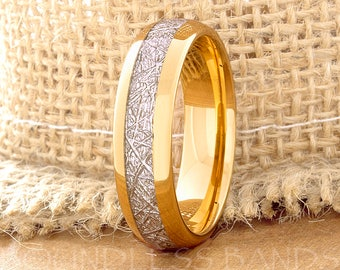 Tungsten Wedding Ring Band Meteorite Ring Mens Women's Wedding Ring Anniversary Ring Dome 6mm Yellow Gold Matching Ring Set Perfect Gift New