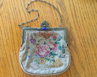 SALE ****Vintage PETITE POINT Purse   1930's Victorian Purse