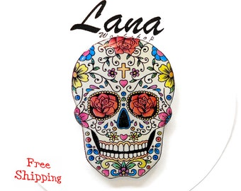 Day of the dead, Free shipping Bright flowers skull, skull, pin skull, brooch skull, jewelry skull, clay skull, clay pin, present gift