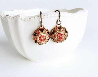 Mosaic Earrings, Red Gold Black Glass Cameo Dome Dangle Earrings, Vintage Style Red Flower Earrings