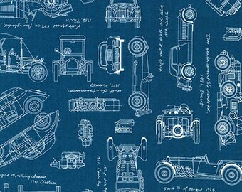 Vintage Car Fabric / Vintage Blueprints / Automobile Blueprint Fabric Robert Kaufman 15674 62 INDIGO Car Fabric  / Fat Quarters, By The Yard