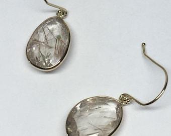 14k solid gold and rose cut, free form rutilated quartz earrings, polki jewelry, dangling earrings , drop earrings