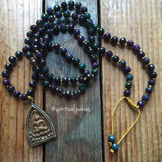 108 Bead Handknotted Faceted Purple, Green and Blue Agate + Thai Buddha Pendant Spiritual Junkies Yoga and Meditation Mini Mala (6 mm)