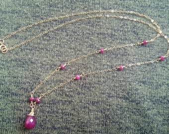 Natural Ruby Gold Filled Necklace