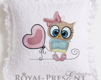 Machine Embroidery Design Cute Owl girl with balloon - 3 sizes