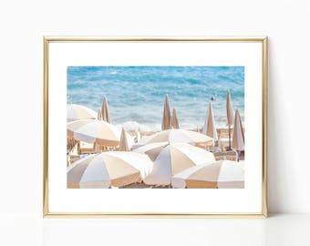 Cannes Beach Prints, Umbrella Photography, Mediterranean, Large Beach Wall Art, Gallery Wall Prints, Travel Photography, Ocean