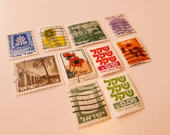 10 Vintage Postage Stamps from Israel - All Different