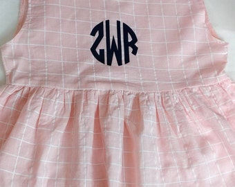 Easter Girls Monogrammed Pink with White Lattice Dress. Easter Dress. Spring Dress. Summer Dress.
