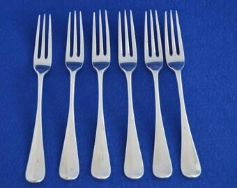 Six Antique Solid Silver Dessert Forks - London 1897 - Sterling Silver Flatware - Dinner Dining - Dessert Pudding Victorian cutlery