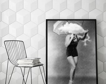 "Black and white art, surreal portrait, woman art print, minimalist art, surreal collage art, cloud wall decor, cloud art - ""Mother nature""."