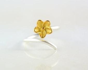 Sterling Silver Flower Adjustable Ring