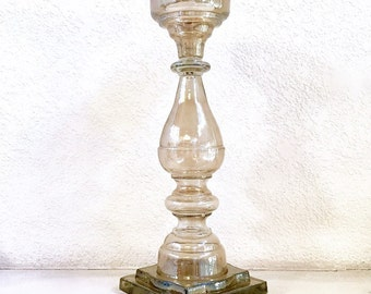 Large Vintage Zodax Glass Pillar Candlestick / Candle Stick Holder with Square Base