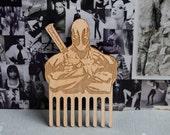 Beard Comb Deadpool Wooden mustache comb Men gift for beard lovers for him Beard care men accessories