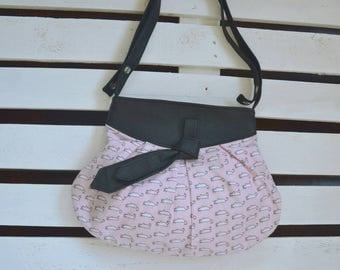 Vegan leather shoulder and Crossbody purse and American fabric pink with little mice