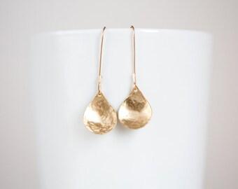 Brass Hammered Earrings, Gold Teardrop Earrings, Nu Gold Brass Dangle Earrings