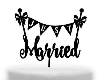 Just Married Bunting Cake topper  Melbourne