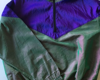 Surf Style Pullover Windbreaker Jacket Purple Green Iridescent One Size Fits All