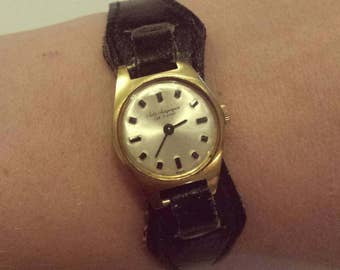 Jules Jurgensen est. 1740 swiss made 18k 0.750 yellow gold women's genuine leather vintage watch