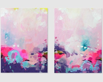 Pink Abstract Painting Acrylic art on paper Contemporary wall art abstract Modern artwork Original painting Wall hanging 2 part painting