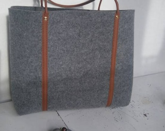 Grey felt tote bag, Felt Bag, Large Tote, For Shopping, Shopper Bag, Leather Handles, Tote Bag, Tote Felt, shoulder bag, Handbag,