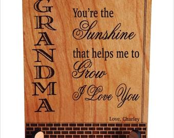 Grandma Custom Gift, Grandma Gift, Grandma Custom Plaque, Grandmother Christmas Gift, Granny Gift, Gift to Grandma, Mimi Gift, PGM018