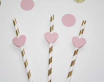 10 Gold and Pink Heart Paper Straws. Pink and Gold Birthday Decorations. Pink and Gold Party Decorations. Paper Straws.
