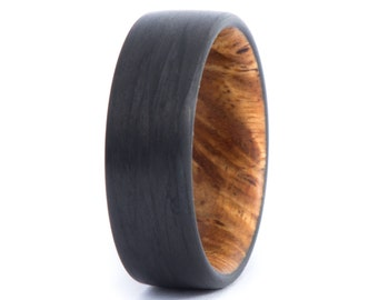 Amboyna Burl Wood Ring With Carbon Fiber: Natural Feel. Wedding And Engagement Ring. For Men And Women. Custom Made.