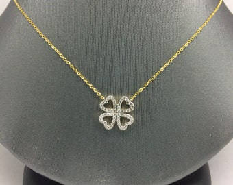 14K Yellow Gold 4 Hearts Necklace