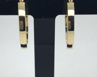 14K Yellow Gold Flat Hoop Earrings
