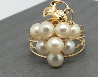 10K Yellow Gold Grape Style Natural Pearl Ring