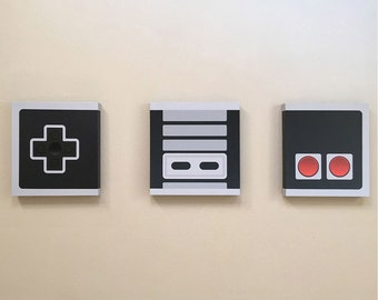Minimal NES Controller Canvas Prints Set of 3