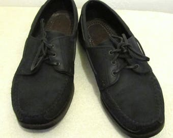 Men's Vintage 90's Black Colored Leather BOAT SHOES By DEXTER.10.5M
