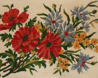 Lovely Vintage French Needlepoint Tapestry - 'Bouquet of Summer Blooms'   (5213s)