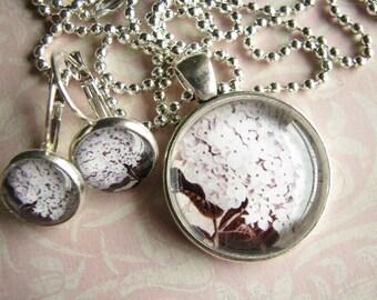 Garden jewelry Mom gift girl Hydrangea jewelry Hydrangea pendant Hydrangea earrings Pastel jewelry Silver pendant Silver earrings Gift ideas