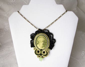 Cameo Necklace Best Gift for her Mother gift Cameo Pendant Soutache Necklace Black Necklace Black Pendant Victorian Necklace Green pendant