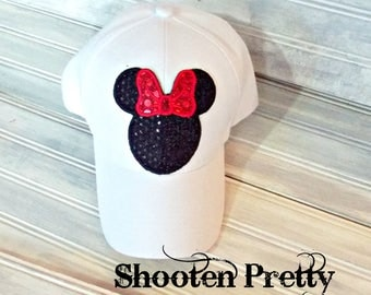 FREE SHIPPING Glitter/sequin fabric minnie mouse baseball cap