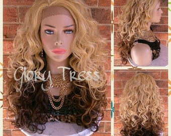 READY To SHIP //Celebrity Inspired Lace Front Wig, Ombre Blonde and Brown Wig, Long Curly Lace Front Wig // GLADNESS (Free Shipping)