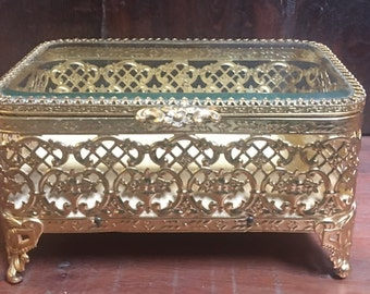 Vintage brass jewelry box