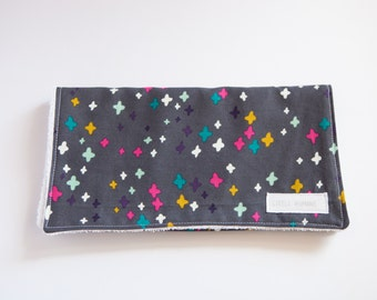 Grey + Multi-Coloured Crosses Burp Cloth