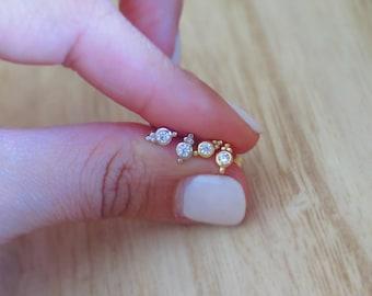 Silver milgrain stud earrings |  Tiny stud earrings |  Dainty stud earrings | Delicate stud earrings | Second hole | Minimalist earrings