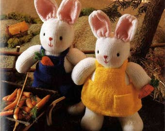 Cheeky Little Easter Bunny Rabbits bunnies toy knit doll vintage knitting pattern instant download
