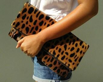 Leopard clutch, fold over clutch, Big spot, leopard print leather clutch, leopard calf hair zipper clutch, leather clutch, leopard purse