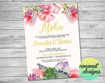 Tropical Baby Shower Invitation / Baby Shower Invite / Floral Baby Shower Invitation / Luau Baby Shower Invitation / Digital File